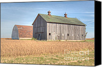 Farming Barns Canvas Prints - Barn Duo Canvas Print by Deborah Smolinske