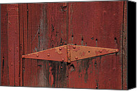 Red Door Canvas Prints - Barn hinge Canvas Print by Garry Gay