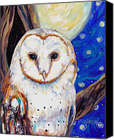 Starry Painting Canvas Prints - Barn Owl in Starry Night Canvas Print by Peggy Wilson