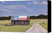Rural Texas Canvas Prints - Barn Painted as the Texas Flag Canvas Print by Jeremy Woodhouse