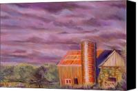 Landscapes Pastels Canvas Prints - Barn Silo Canvas Print by George Grace