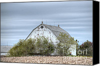 Farming Barns Canvas Prints - Barn Under Stormy Skies Canvas Print by Deborah Smolinske