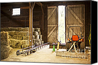Belt Canvas Prints - Barn with hay bales and farm equipment Canvas Print by Elena Elisseeva