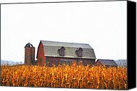 Country Scenes Canvas Prints - Barns First Canvas Print by Emily Stauring