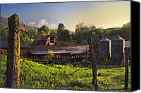 Barbed Wire Fences Canvas Prints - Barns in the Morning Canvas Print by Debra and Dave Vanderlaan