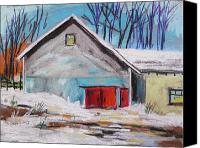 Landscapes Pastels Canvas Prints - Barnyard in Winter Canvas Print by John  Williams