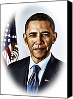 Barrack-obama Canvas Prints - Barrack Obama Canvas Print by Tyler Robbins