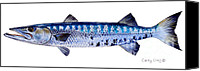 Great Painting Canvas Prints - Barracuda Canvas Print by Carey Chen