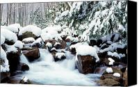 Mountain Stream Canvas Prints - Barrenshe Run in Winter Canvas Print by Thomas R Fletcher