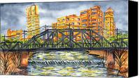 City Of Bridges Painting Canvas Prints - Bartlesville Canvas Print by Ragon Steele