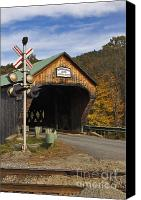 River Transportation Canvas Prints - Bartonsville Covered Bridge - D000553 Canvas Print by Daniel Dempster