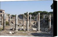 Run Down Canvas Prints - Base of Trajans Column and the Basilica Ulpia. Rome Canvas Print by Bernard Jaubert