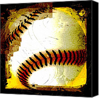 Baseball Canvas Prints - Baseball Abstract Canvas Print by David G Paul