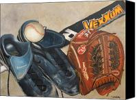 Mlb Painting Canvas Prints - Baseball Allstar Canvas Print by Teri Vaughn