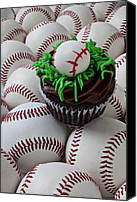 Ball Canvas Prints - Baseball cupcake Canvas Print by Garry Gay