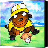 Baseball Painting Canvas Prints - Baseball Dog 3 Canvas Print by Scott Nelson