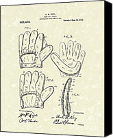 Glove Canvas Prints - Baseball Glove 1910 Patent Art Canvas Print by Prior Art Design