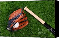 Glove Canvas Prints - Baseball glove bat and ball on grass Canvas Print by Richard Thomas