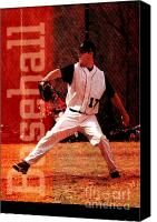Throw Mixed Media Canvas Prints - Baseball Canvas Print by John Turek