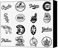 Major Canvas Prints - Baseball Logos Canvas Print by Granger