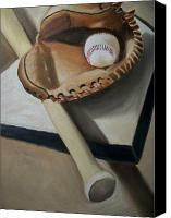 Baseball Painting Canvas Prints - Baseball Canvas Print by Mikayla Henderson