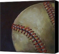 Major League Baseball Painting Canvas Prints - Baseball No. 3 Canvas Print by Kristine Kainer