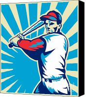 Athlete Canvas Prints - Baseball Player Batting Retro Canvas Print by Aloysius Patrimonio