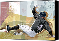 Glove Digital Art Canvas Prints - Baseball Player Sliding Into Base Canvas Print by Greg Paprocki