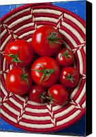 Foodstuff Canvas Prints - Basket full of red tomatoes  Canvas Print by Garry Gay