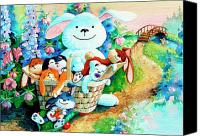 Easter Bunny Painting Canvas Prints - Basket of Bunnies Canvas Print by Hanne Lore Koehler