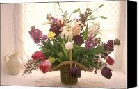 Basket Photo Canvas Prints - Basket of flowers in window Canvas Print by Garry Gay