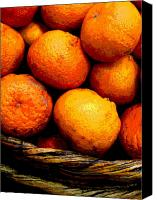 Food Tapestries Textiles Canvas Prints - Basket of Oranges by Darian Day Canvas Print by Olden Mexico