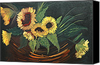 Floral Reliefs Canvas Prints - Basket of Sun Flowers Canvas Print by Joseph Kozenczak