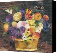 Signed Mixed Media Canvas Prints - Basket with Flowers Canvas Print by Nira Schwartz