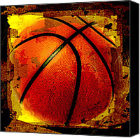 Basketball Canvas Prints - Basketball Abstract Canvas Print by David G Paul
