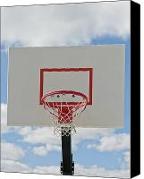 Basketball Canvas Prints - Basketball Backboard With Hoop and Net Canvas Print by Thom Gourley/Flatbread Images, LLC
