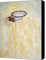 Basketball Canvas Prints - Basketball Hoop Mounted on a Wall Canvas Print by Noam Armonn