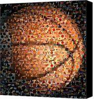 Ball Canvas Prints - Basketball Mosaic Canvas Print by Paul Van Scott