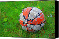 Basketball Canvas Prints - Basketball Orange White Green Abstract Canvas Print by Geoff Strehlow