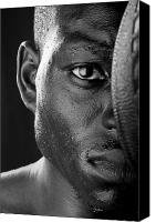 Basketball Canvas Prints - Basketball Player Close Up Portrait Canvas Print by Val Black Russian Tourchin