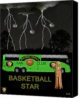 Throw Mixed Media Canvas Prints - Basketball Star Canvas Print by Eric Kempson