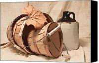 Stoneware Canvas Prints - Baskets With Crock I Canvas Print by Tom Mc Nemar