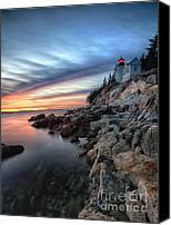 Craggy Canvas Prints - Bass Harbor Head Lighthouse at Sunset Canvas Print by George Oze