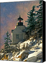 Acadia Canvas Prints - Bass Harbor Light in a Winter Storm Canvas Print by Brent Ander