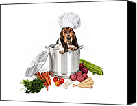 Garlic Canvas Prints - Basset Hound Dog in Big Cooking Pot Canvas Print by Susan  Schmitz