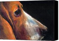 Hound Drawings Canvas Prints - Basset Hound painting 2  Canvas Print by Svetlana Novikova