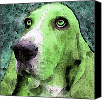 Soulful Canvas Prints - Basset Hound - Pop Art Green Canvas Print by Sharon Cummings