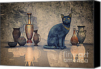 3d Graphic Canvas Prints - Bastet and Pottery Canvas Print by Jutta Maria Pusl