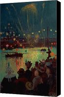 Commemorating Canvas Prints - Bastille Day at Lorient Canvas Print by Henry Moret