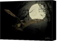Bat Digital Art Canvas Prints - Bat Under a Full Moon Canvas Print by Scott Rolfe